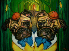 painting of pugs dressed up like kids
