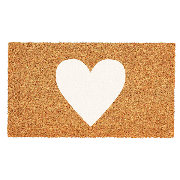 Heart Door Mat - White