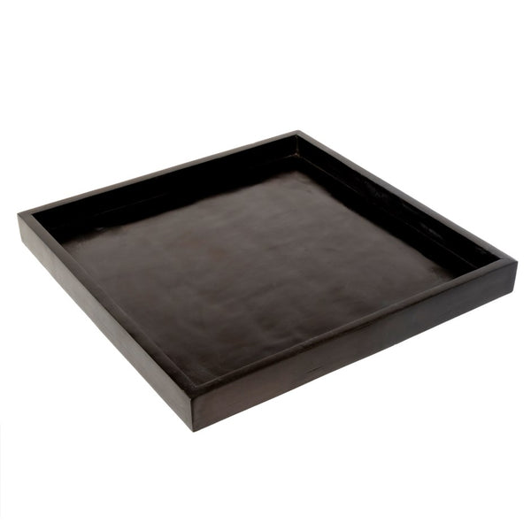Square Black Stone Tray - Large