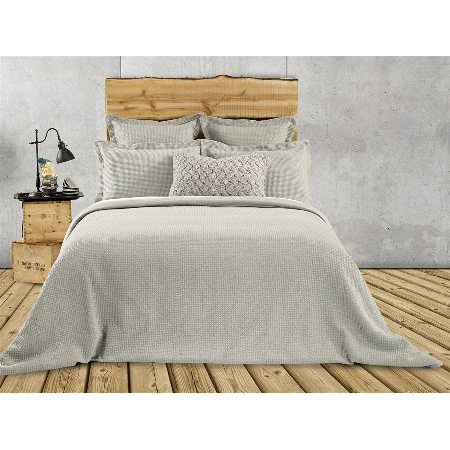 Quilted Grey Jersey Duvet Cover / Quilt