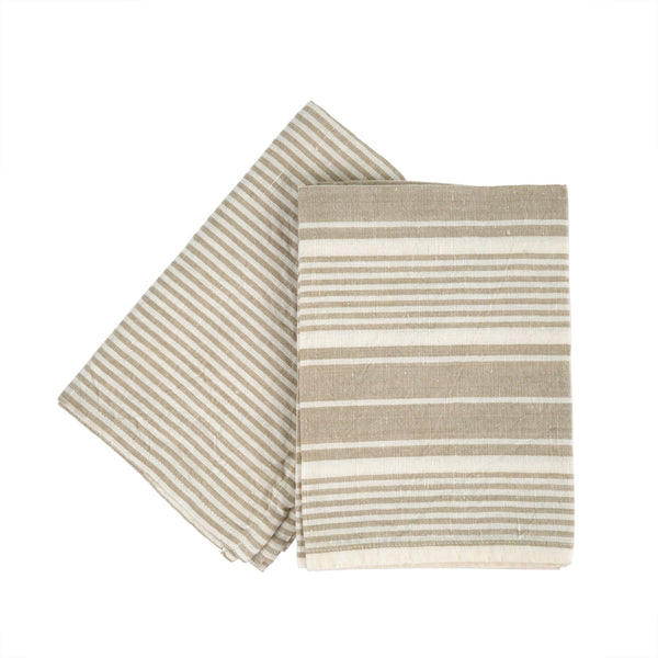 French Linen Tea Towel - Multi Stripe