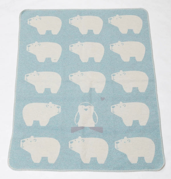 Cotton Flannel Baby Blanket - Polar Bears / Blue