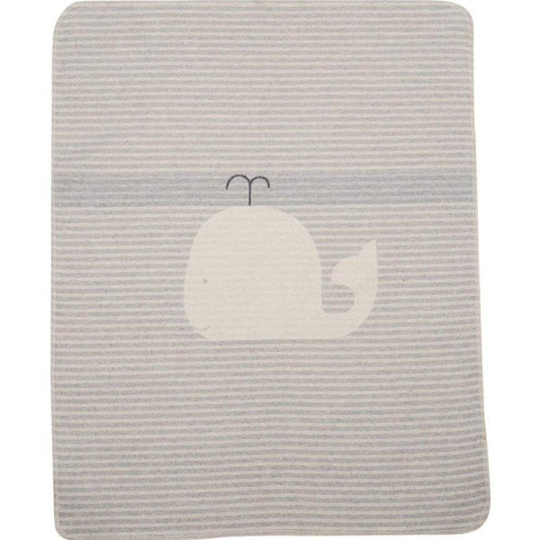 Cotton Flannel Baby Blanket - Whale / Stripes