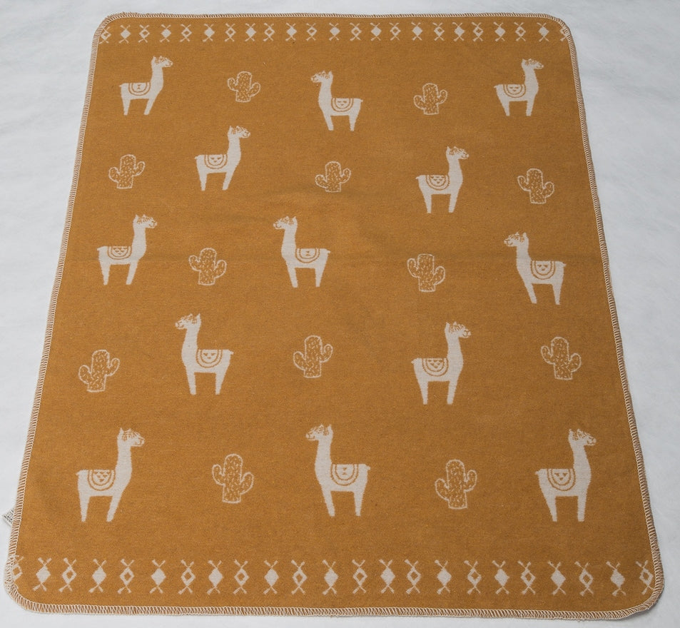Cotton Flannel Baby Blanket - Llamas / Gold