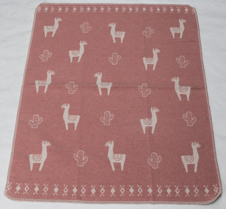 Cotton Flannel Baby Blanket - Llamas / Pink