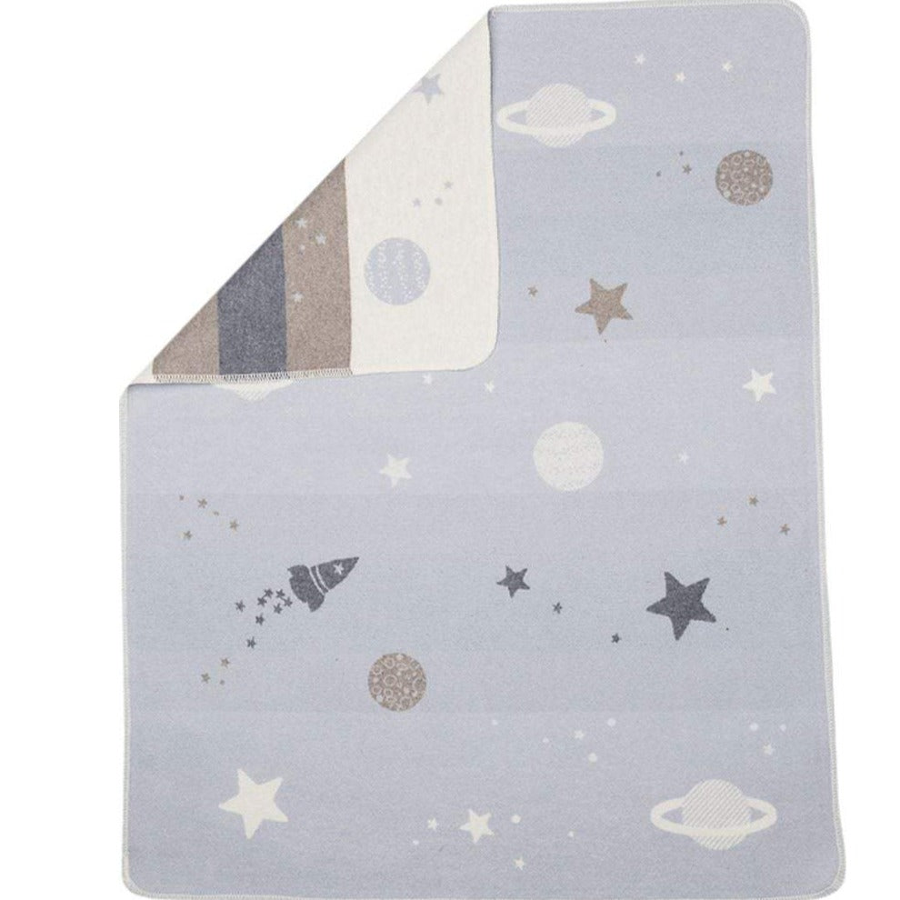 Cotton Flannel Baby Blanket - Blue Planets