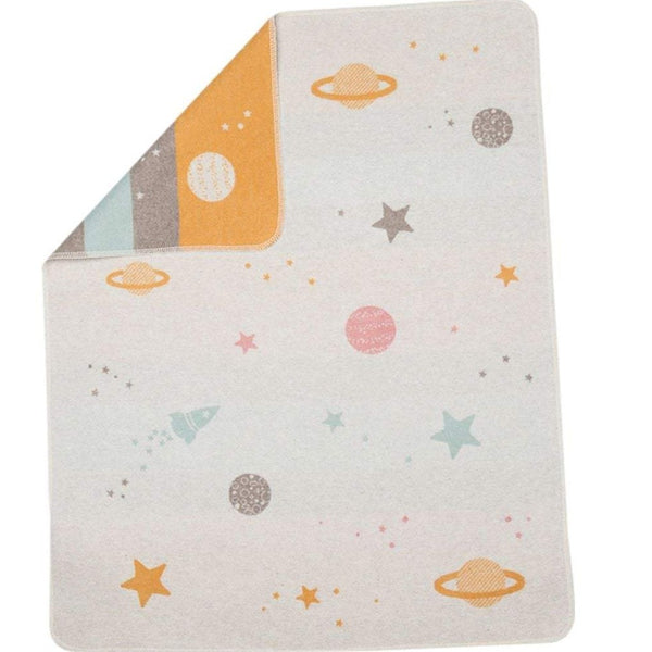 Cotton Flannel Baby Blanket - Grey Planets