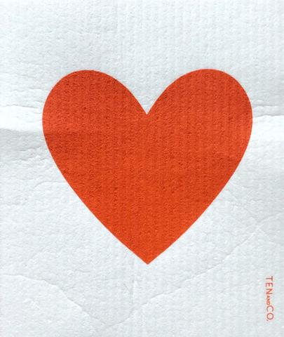 Swedish Sponge Cloth - Big Love / Red