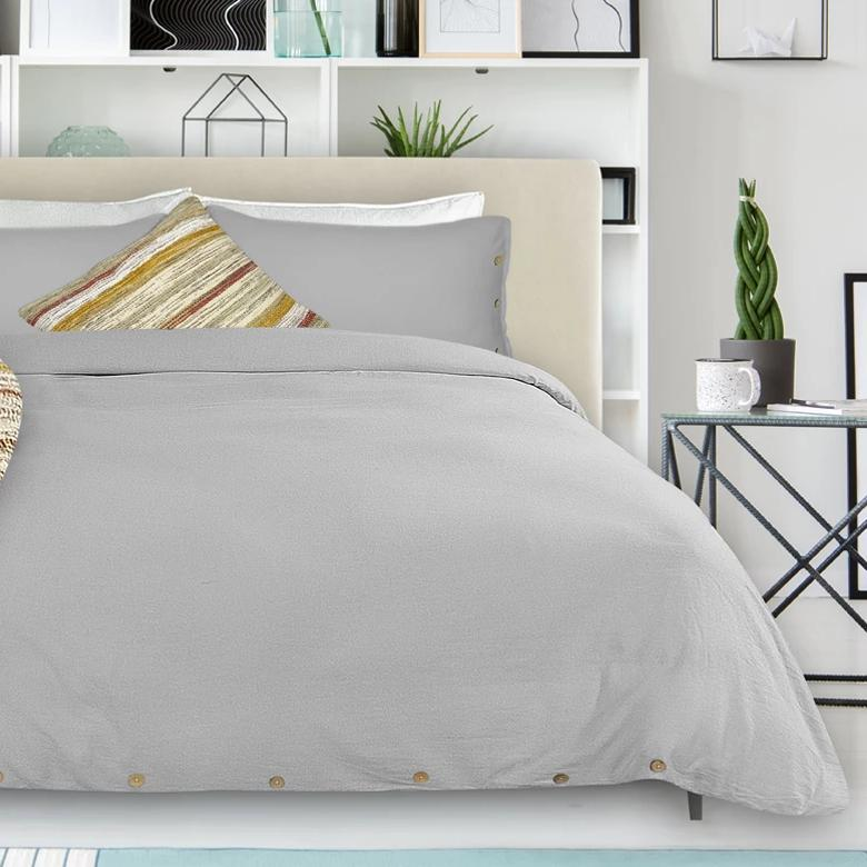 Coxen Linen Duvet + Pillow Case Set - Stone