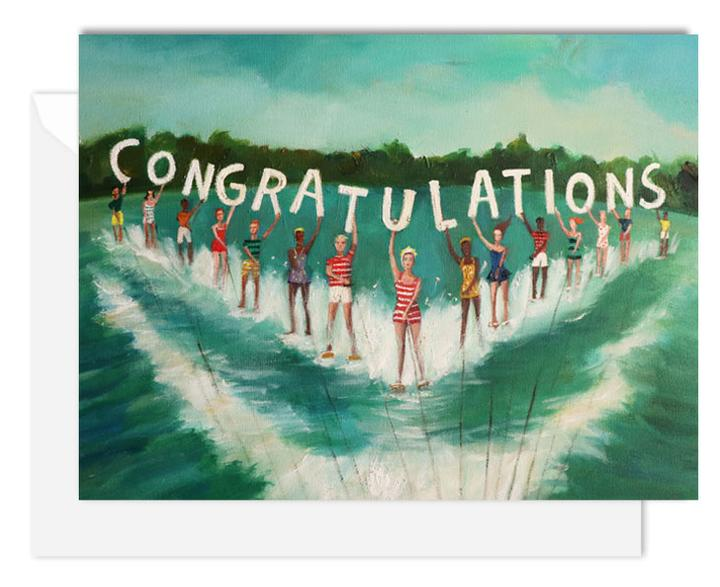 Water Skiers Congratulations Card from Janet Hill Studio