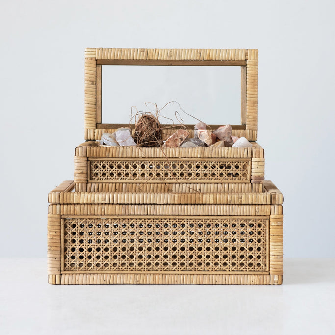 Pair of Rattan Boxes with Glass Lids