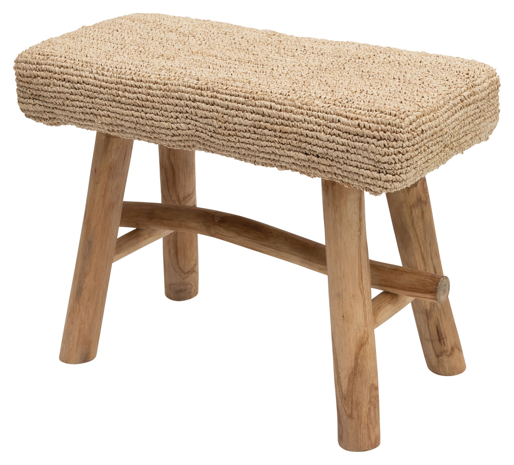 Teak Stool with Covered Seat