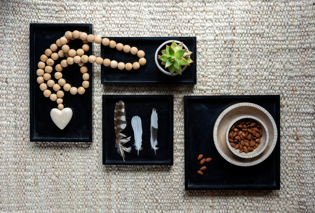 Square Black Stone Tray - Small