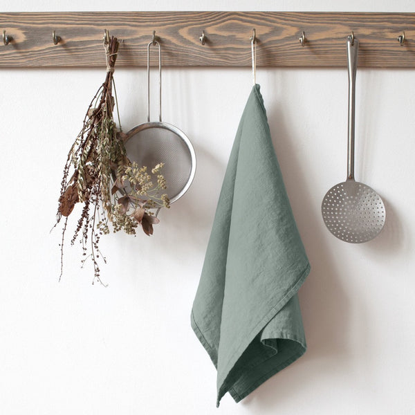 100% Linen Kitchen Towel - Green Milieu