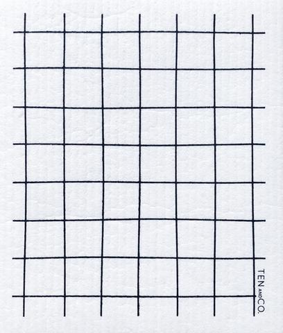 Swedish Sponge Cloth - Grid / Black