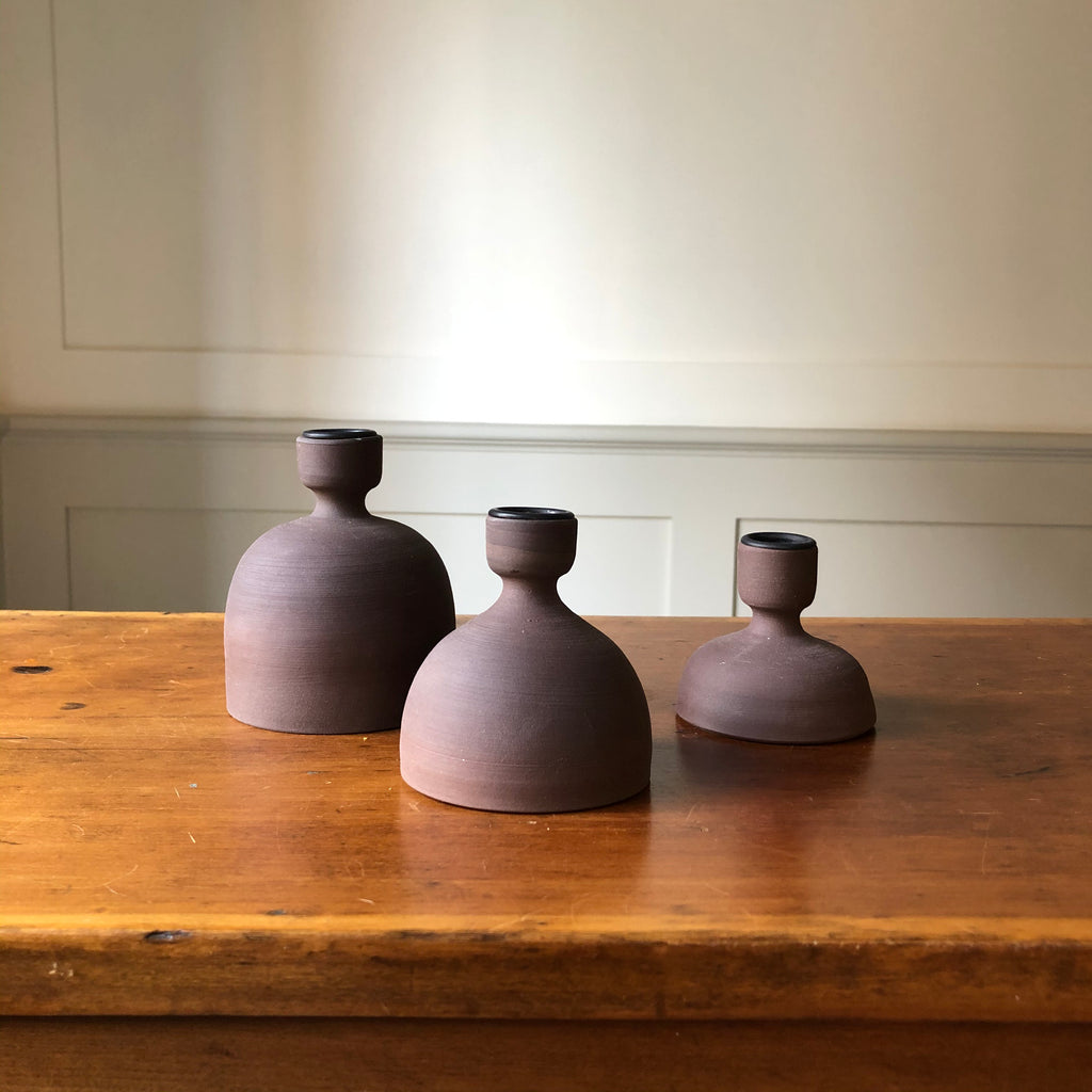 W&P Studio Candle Holders - Matte Brown
