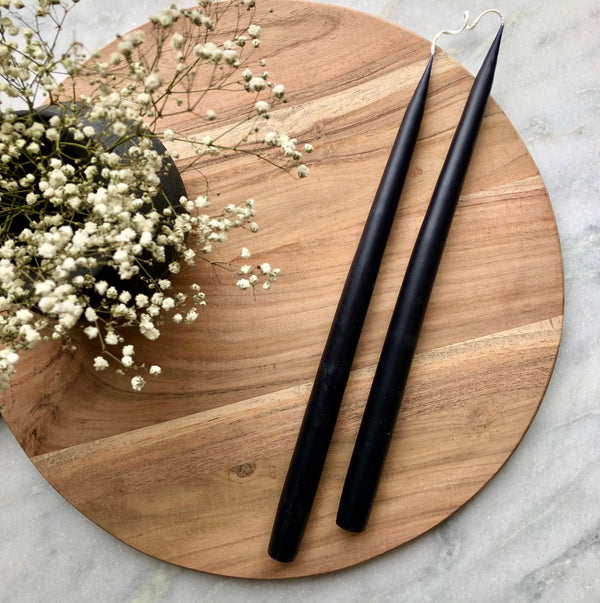 Pair of Hand-Dipped Danish Tapers - Black