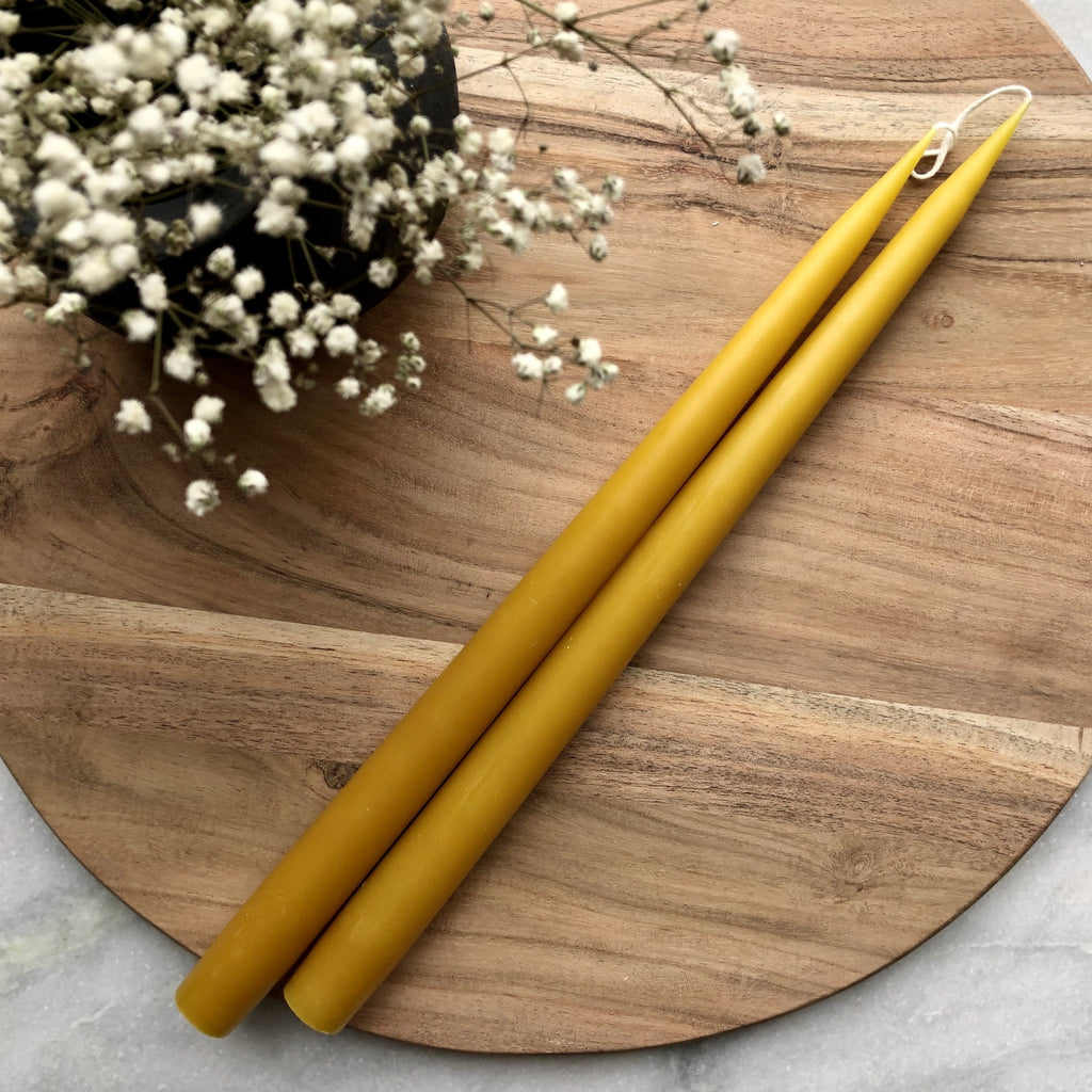 Pair of Hand-Dipped Danish Tapers - Honey