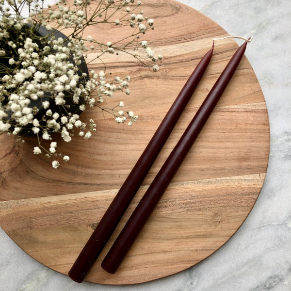 Pair of Hand-Dipped Danish Tapers - Oxblood
