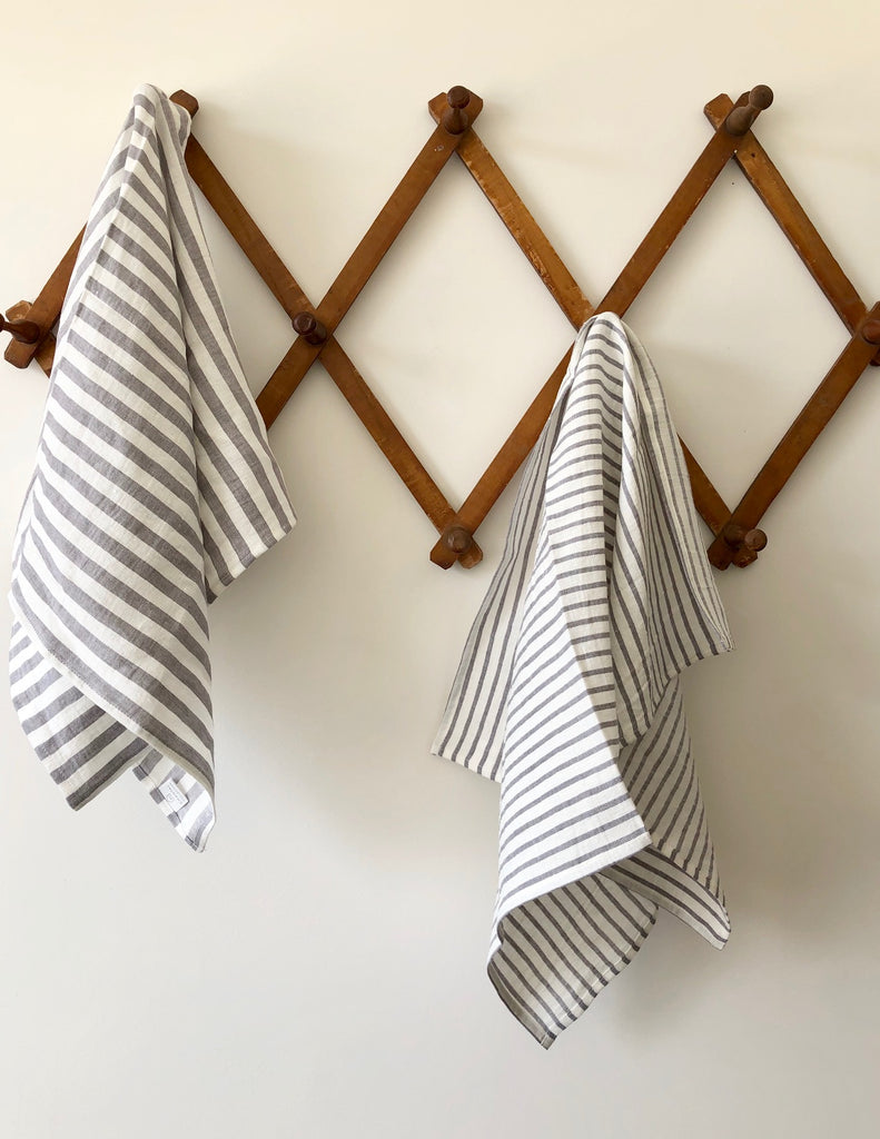 100% Washed Linen Towel - Thin Grey Stripe