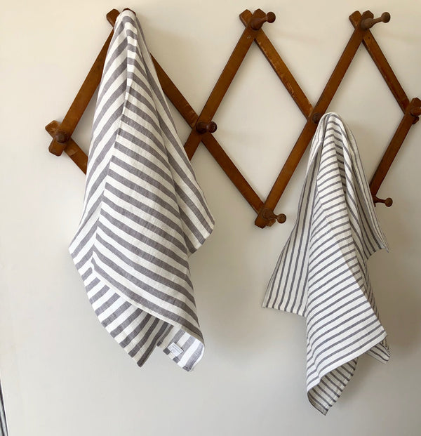 100% Washed Linen Towel - Thick Grey Stripe