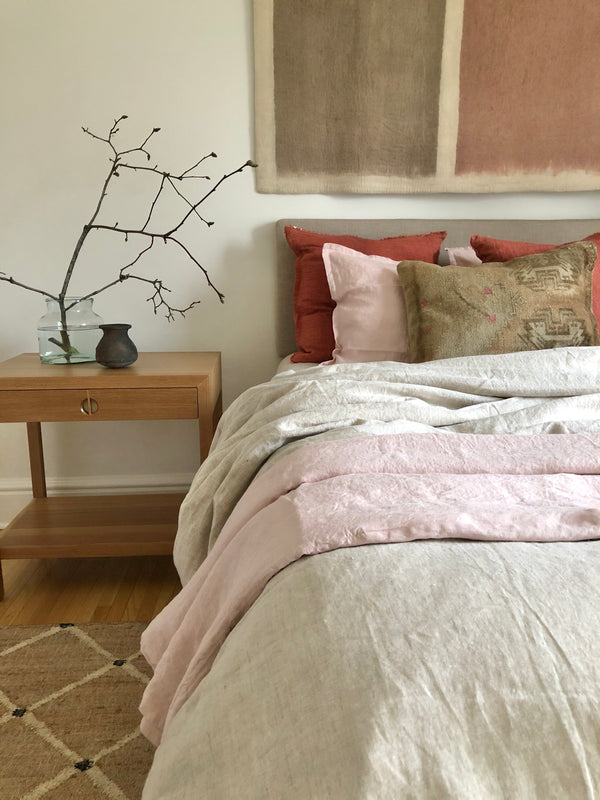 100 % Linen Duvet Cover - Blush
