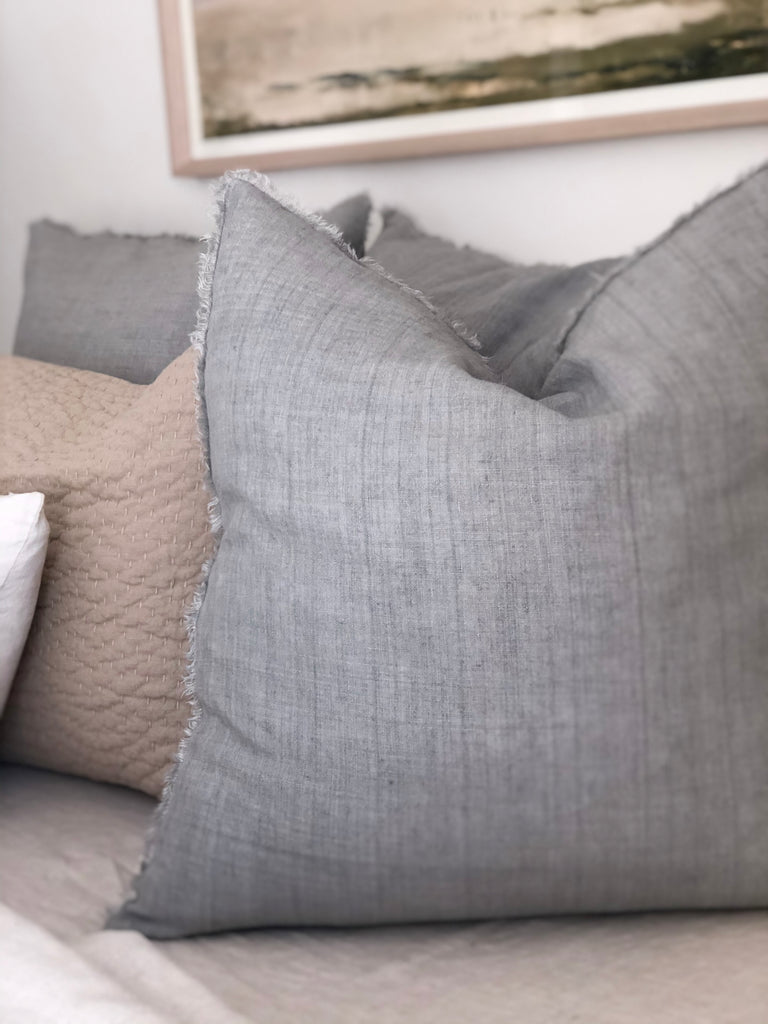Lina Linen Pillow - Flint Grey