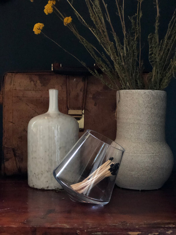 Glass Vase with Tilted Base