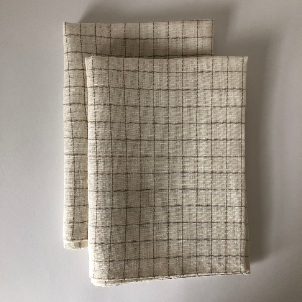 Linen Tea Towel - Off-White / Window Pane