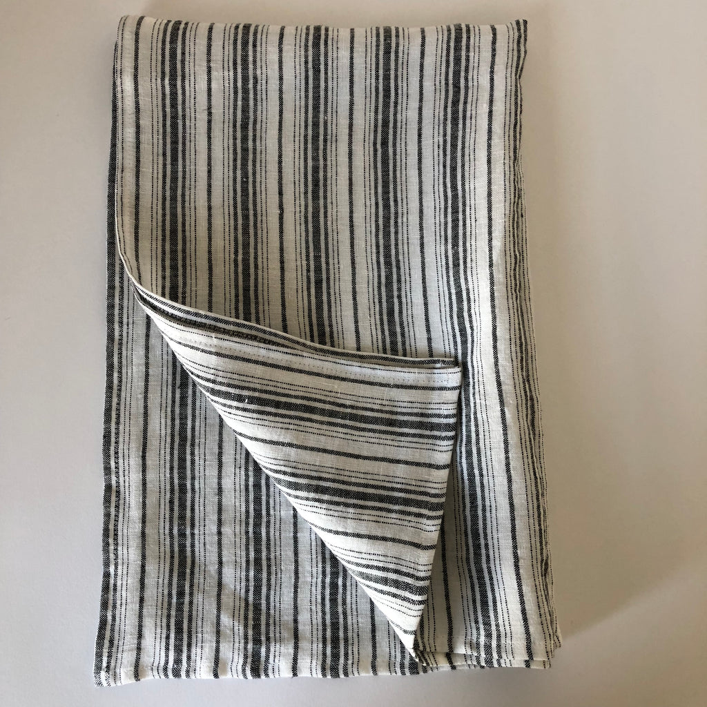 Washed Linen Tea Towel - Multi Stripe