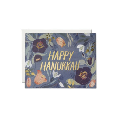 Hanukkah Flowers Holiday Card