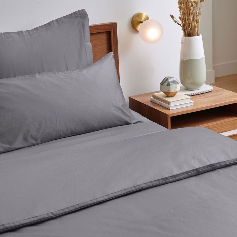 If Only Home Luxury Organic Duvet Cover - Charcoal