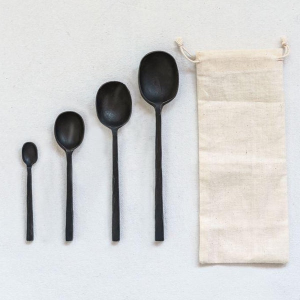 Set of Four Cast Aluminum Serving Spoons