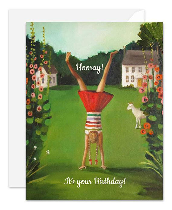 The Handstand Birthday Card from Janet Hill Studio