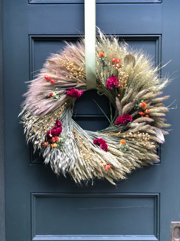 Mixed Grasses + Berries Wreath