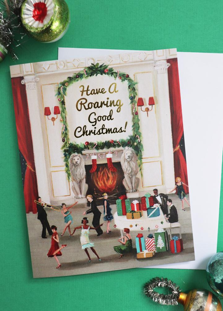 Have a Roaring Good Christmas Card from Janet Hill Studio