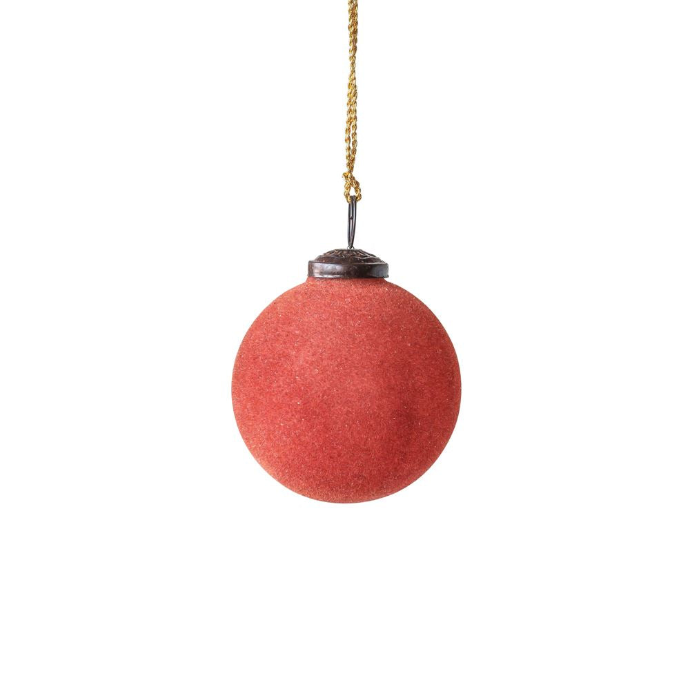 Flocked Glass Ornament -Rust