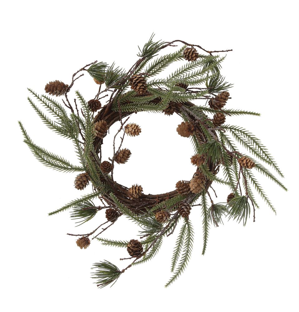 "18"" Pine Wreath with Pine Cones"