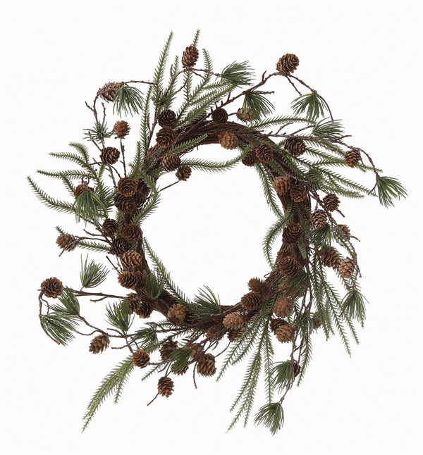 "22"" Pine Wreath with Pine Cones"