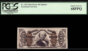 1863 $0.50 Note FR. 1329 Third Issue Fractional Currency PCGS Superb Gem New 68 PPQ