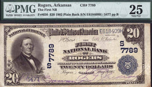 1902 - $20 Note - Rogers – Arkansas – CH 4287 – FR 603 – PMG VF25
