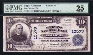 1902 $10 Note Hope – Arkansas – CH 10579 – FR 631 – PMG VF25