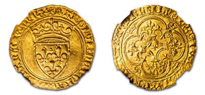 1380-1422 Charles VI 1 Ecu d'Or a la couronne NGC MS62
