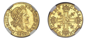 1641A Louis XIII 1/2 Louis d'or NGC MS64