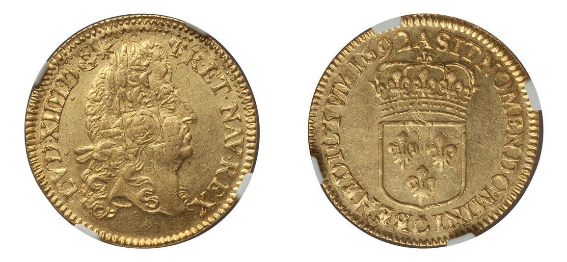 "1692-A 1 Louis d'Or ""a l'ecu"" NGC MS62"