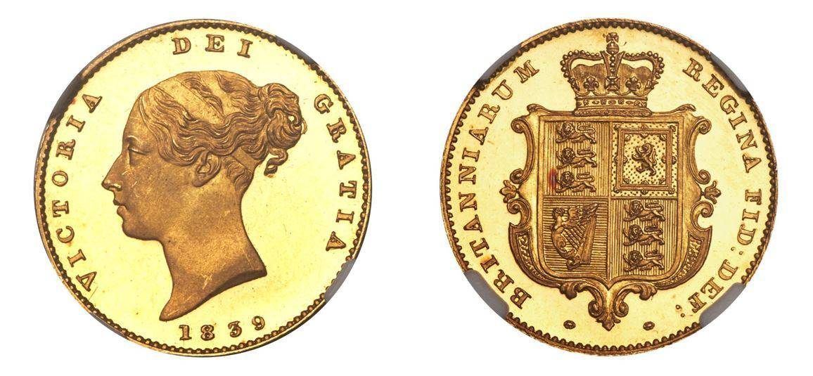 1839 Victoria 1/2 Sovereign NGC PF65