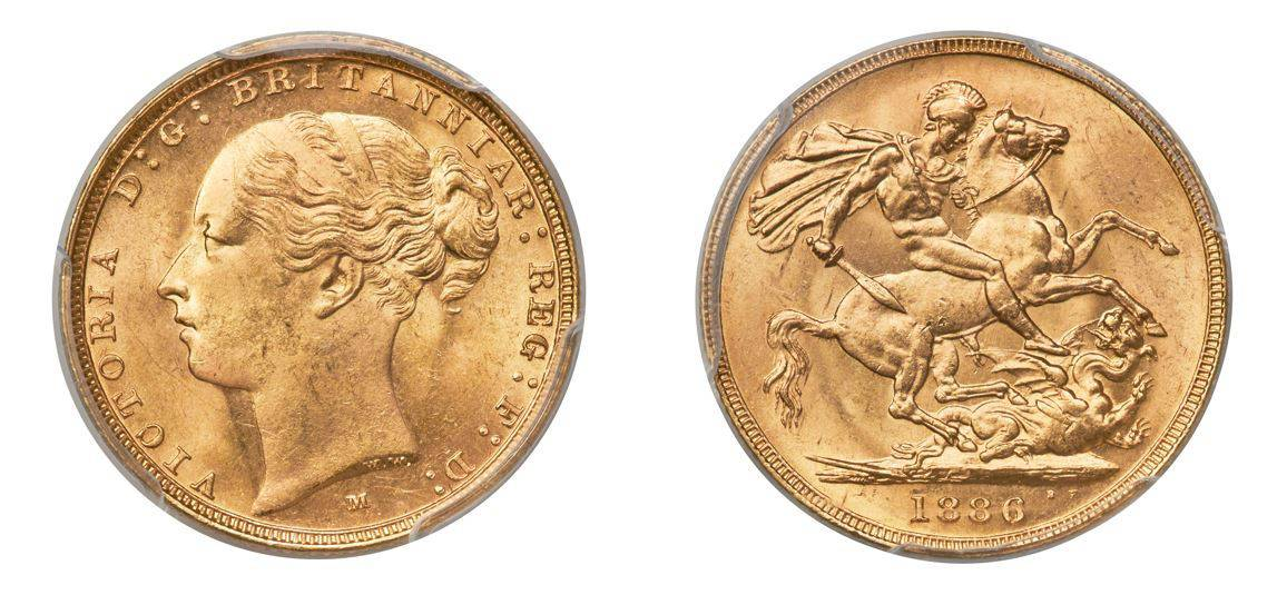 "1886-M Victoria Gold ""St. George"" Sovereign PCGS MS65"
