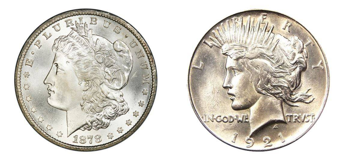 1878-1935 Morgan And Peace Dollar Set RAW Brilliant Uncirculated