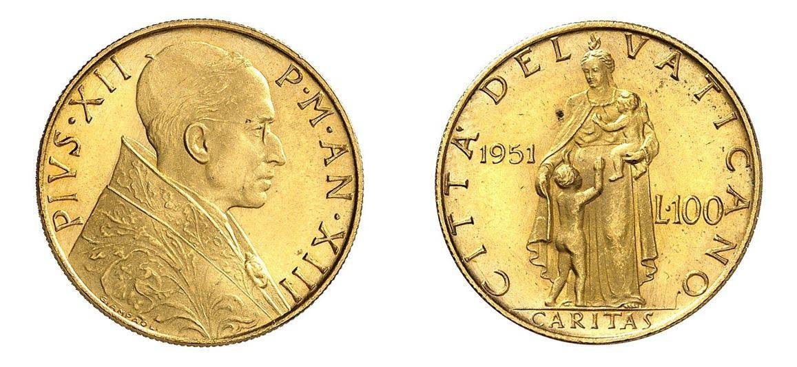 1951 Pope Pius XII 100 Lire ANACS MS65