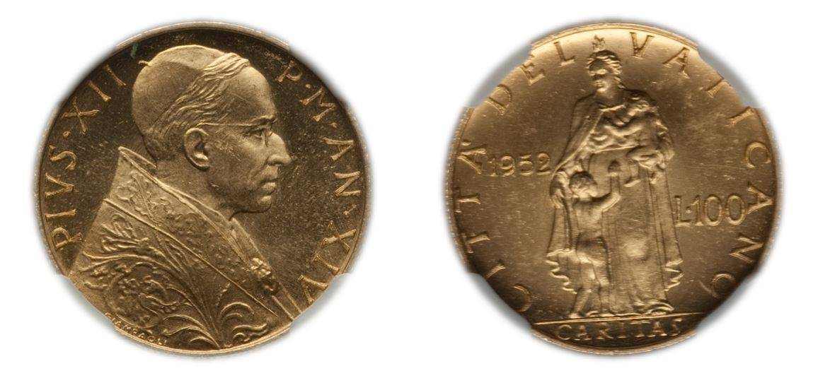 1952 Pope Pius XII 100 Lire NGC MS64